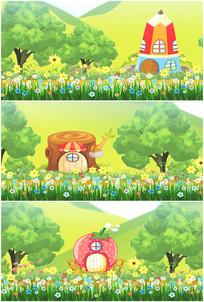 童话森林世界花朵房子鸟语花香视频