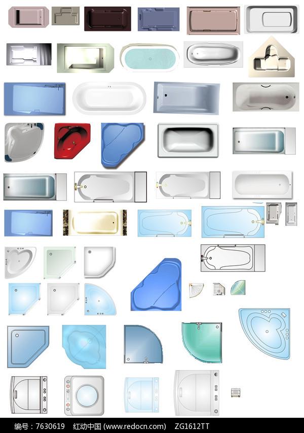 卫浴间淋浴浴缸洗衣机电器psd合集图片