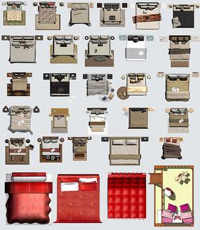 现代多种风格床铺psd合集