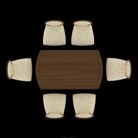 现代中式木桌餐厅餐桌psd
