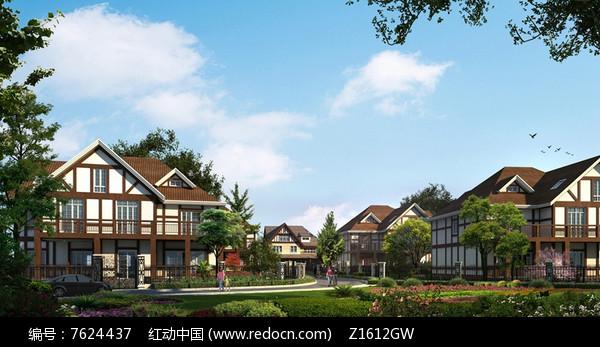 新中式别墅住宅区效果图片