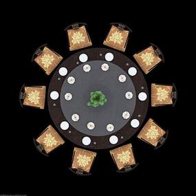 中式典雅餐厅大圆桌psd素材