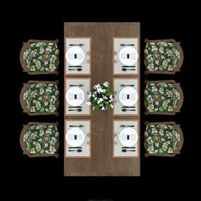 中式典雅木质餐桌psd