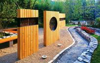 中式花纹木贴面组合景墙