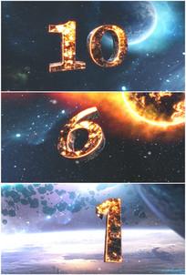 10秒倒计时宇宙星球火焰数字视频