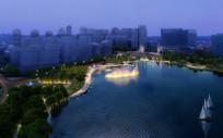 滨水广场夜景效果图
