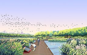 滨水湿地栈道效果图