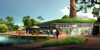 滨水休闲咖啡馆景观效果图