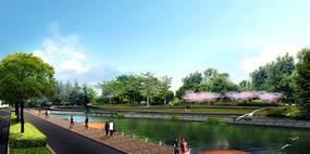 滨水游步道景观效果图