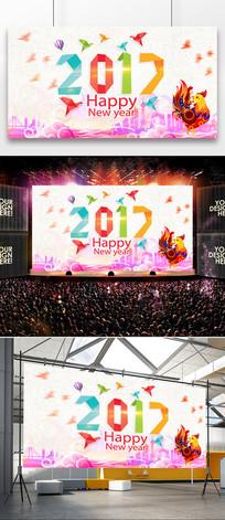 创意2017鸡年炫酷剪纸新年海报设计