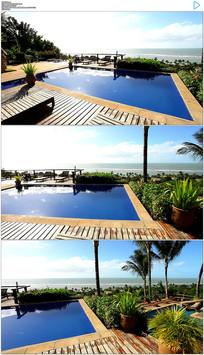 海边假日酒店游泳池实拍视频