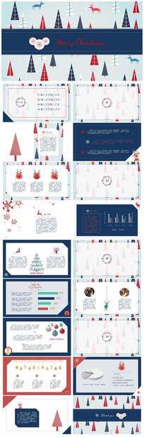 红蓝撞色卡通风圣诞PPT