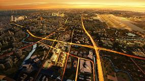 黄昏城市规划鸟瞰全景