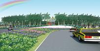 机场广场入口绿化景观效果图 PSD
