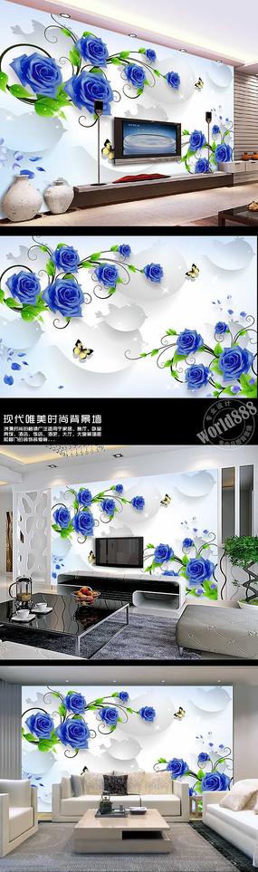 玫瑰花立体球3D时尚背景墙 PSD