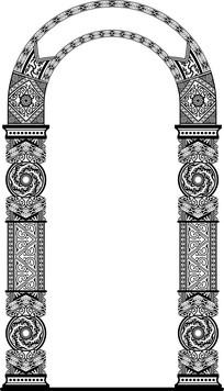 欧式柱拱门装饰图案