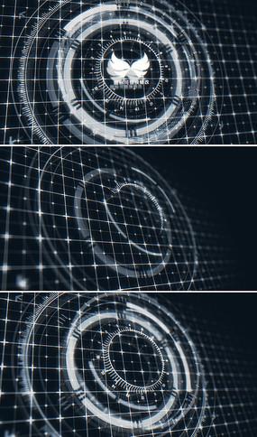 三维全息投影科技感logo演绎模板