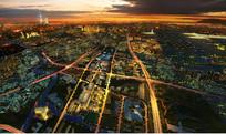 上海城市规划夜景鸟瞰