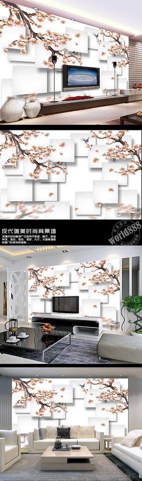 桃花杏花春燕立体方形3D时尚背景墙