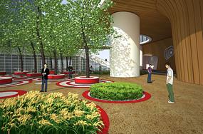 特色树池广场空间效果图