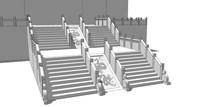 中式古典广场浮雕楼梯SU
