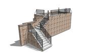 中式建筑观景台平台楼梯护栏SU