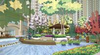 住宅休闲跌水绿化空间