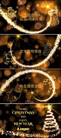 金色魔法粒子圣诞新年片头模板