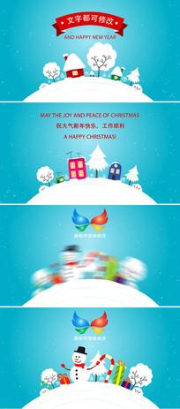 卡通圣诞节新年贺卡片头模板