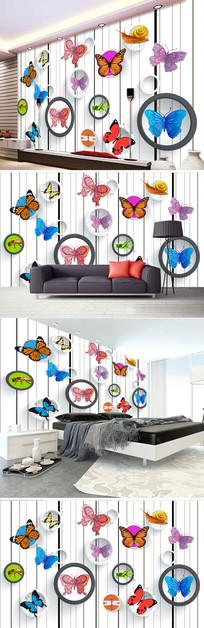 3D立体圆圈蝴蝶简约电视背景墙图片