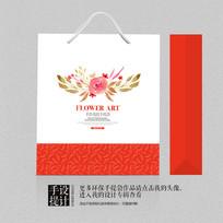红色喜庆礼品包装手提袋设计