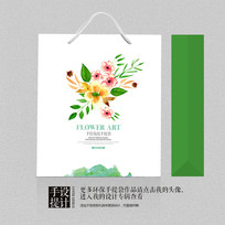 花卉水墨绿色环保手提袋设计