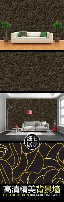 金色玫瑰连续图案电视背景墙