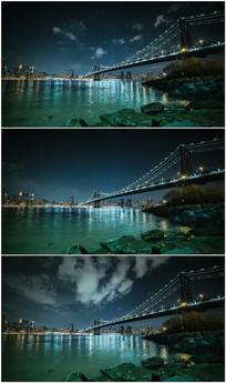 纽约布鲁克林大桥漂亮夜景视频