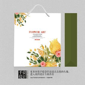 花卉现代艺术手提袋设计 PSD