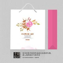 小清新水墨花卉手提袋设计