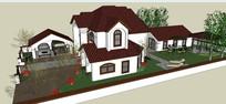 带院落别墅模型