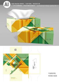 时尚方格绿黄色彩间隔抽纸盒