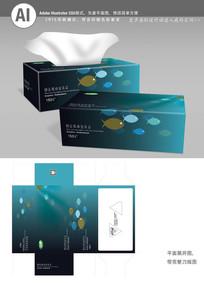 鱼花纹背景抽纸盒
