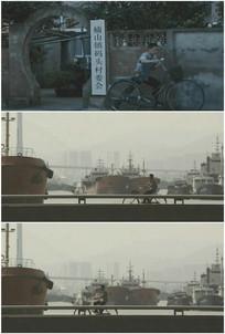 海边渔村干部码头骑自行车视频