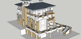 蓝顶欧式别墅模型
