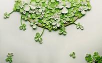 绿叶花篮绿色清新自然简约田园风电视背景墙