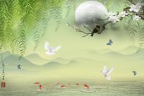 梦里水乡梅花柳絮远山图3D唯美浪漫风景电视背景墙
