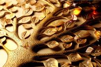 木雕树枝纹理叶子金色自然风格背景墙画