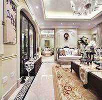 欧式花纹装饰客厅侧面