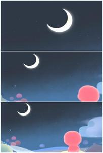 夜晚月亮月光小朋友伤心背影视频