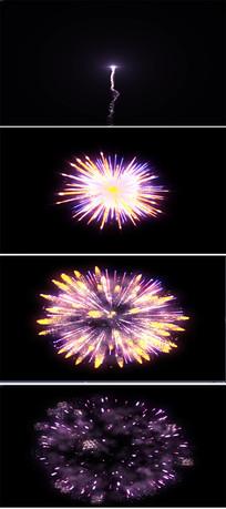单独高清紫黄色烟花动态视频