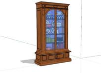 木质大玻璃古董柜