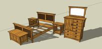 木制梳妆台带床具