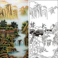 山水画风景雕刻图案 CDR
